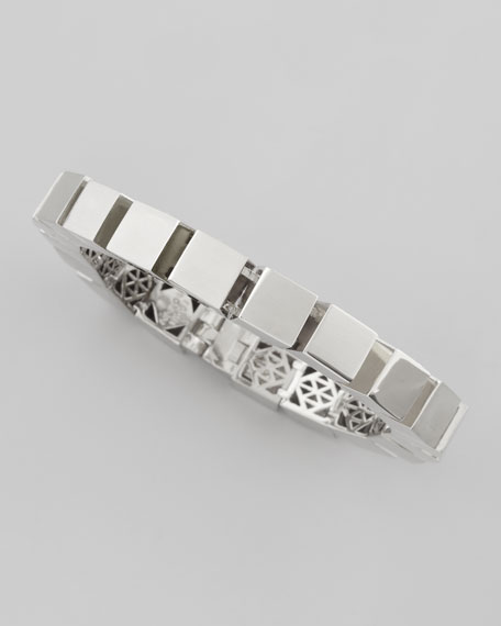 Small Cube Bracelet, Silver-Plate