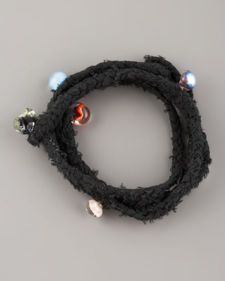 Beaded Woven Wrap Bracelet, Black