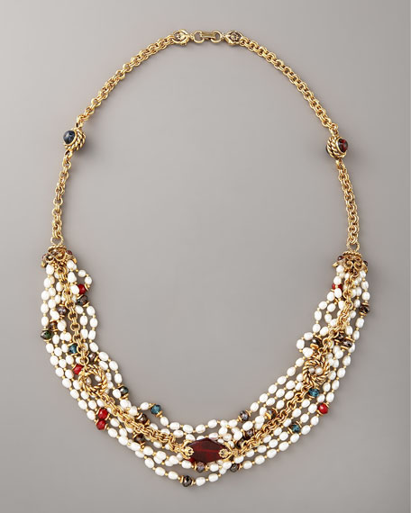 Mixed-Media Pearl Necklace