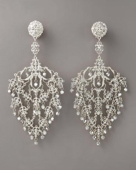 Deco Filigree Earrings, Silvertone