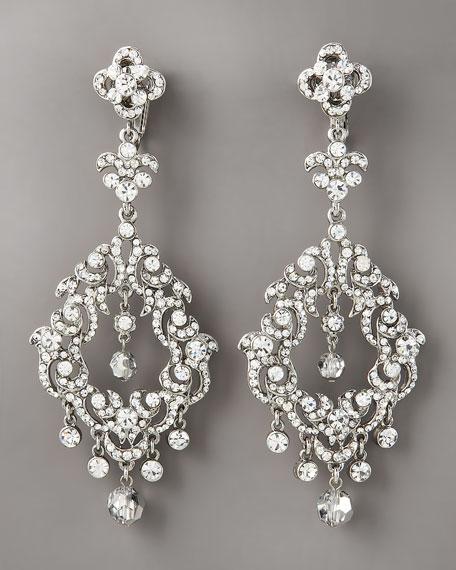 Crystal Clip Earrings, Silvertone