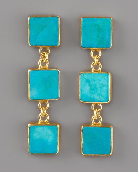 Triple-Drop Turquoise Earrings
