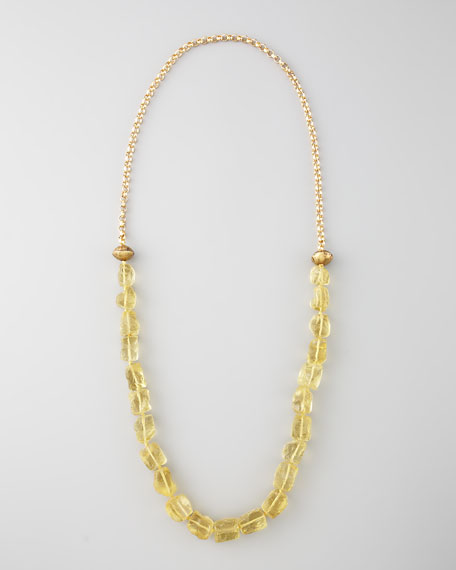 Long Beaded Necklace, Yellow