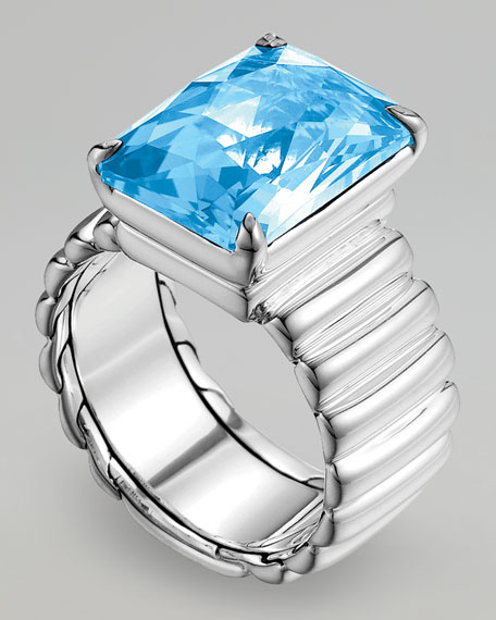 Wide Band Ring, Blue Topaz