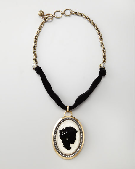 Pave Cameo Necklace, White/Black