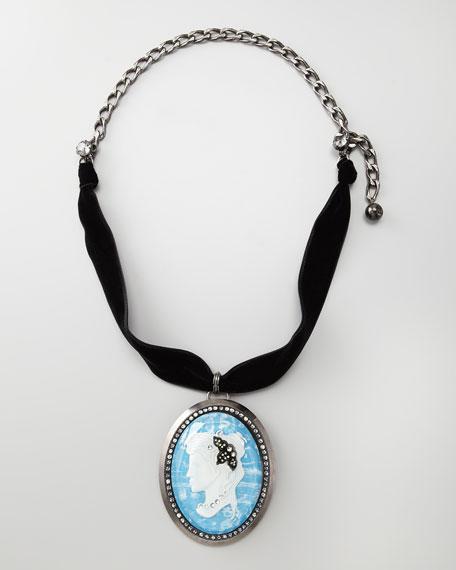 Pave Cameo Necklace, Blue
