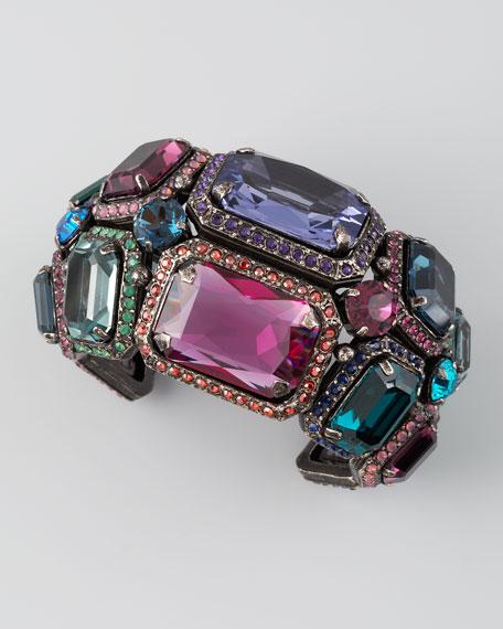 Tutti Frutti Crystal Cuff, Silvertone