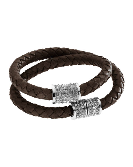 Double-Wrap Braided Leather Bracelet with Pave Detail, Chocolate