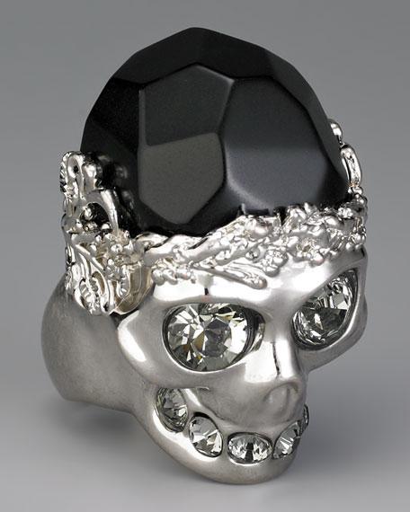 Stone-Detailed Skull Ring