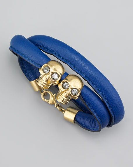 Twin Skull Wrap Bracelet, Prussian Blue