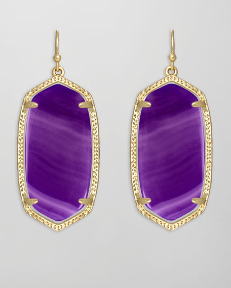 Elle Earrings, Purple Agate