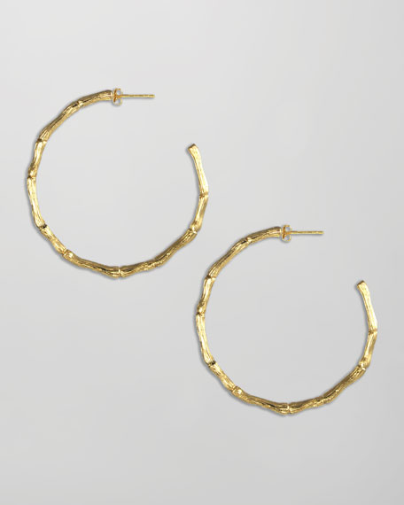 Vivianna Bamboo Hoop Earrings, Gold