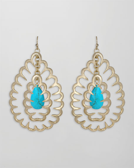 Zola Squiggle Earrings, Turquoise