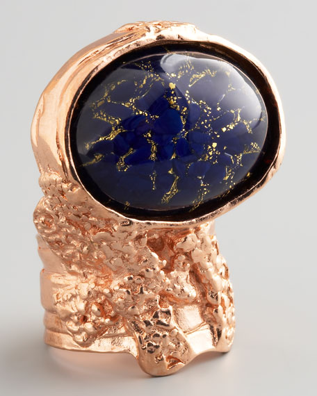Rose Golden Arty Ring, Dark Blue
