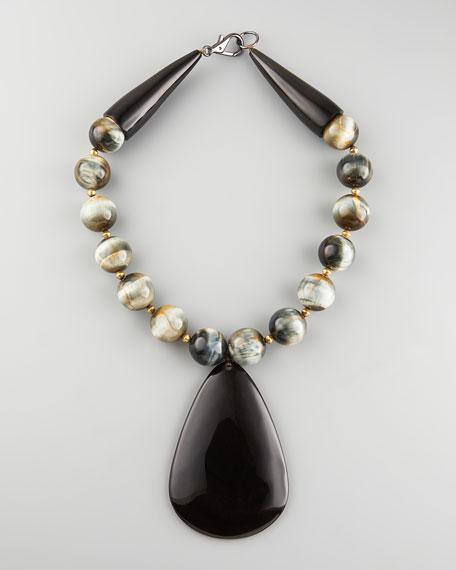 Horn Pendant Tiger's Eye Necklace