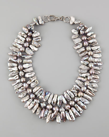 Multi-Strand Pave Pearl Necklace