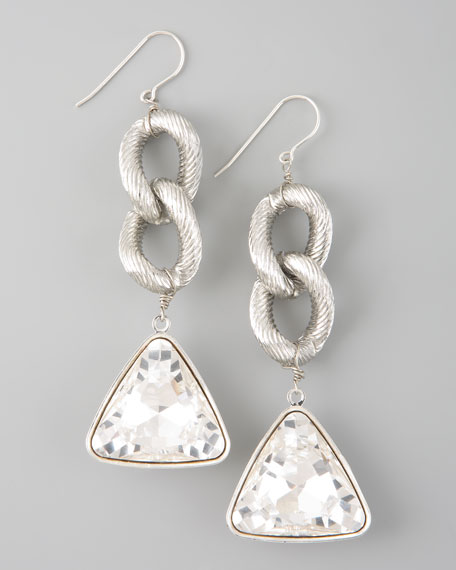 Crystal Drop Earrings, Silver