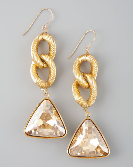 Crystal Drop Earrings, Gold