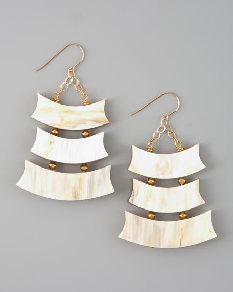Triple-Row Light Horn Earrings