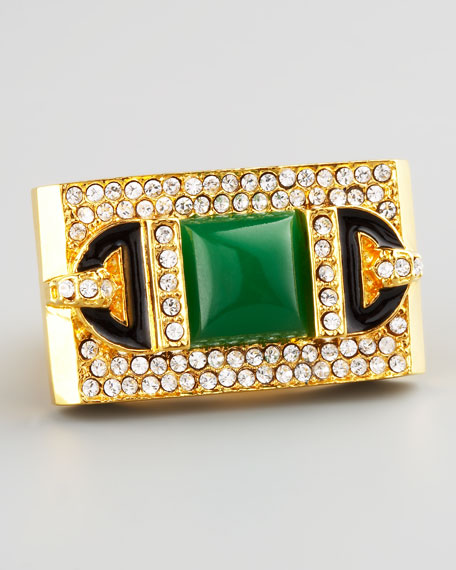 Rectangular Ring, Green Quartz