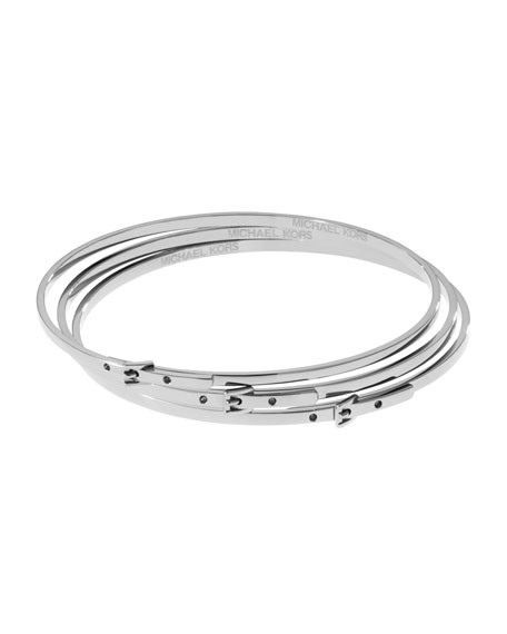 Skinny Buckle Bangles, Silver Color