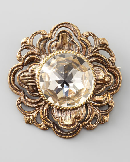 Crystal-Center Filigree Brooch