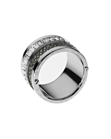 Multi-Stone Barrel Ring, Silver Color