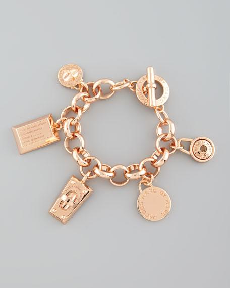 Logo Charm Bracelet, Rose Golden