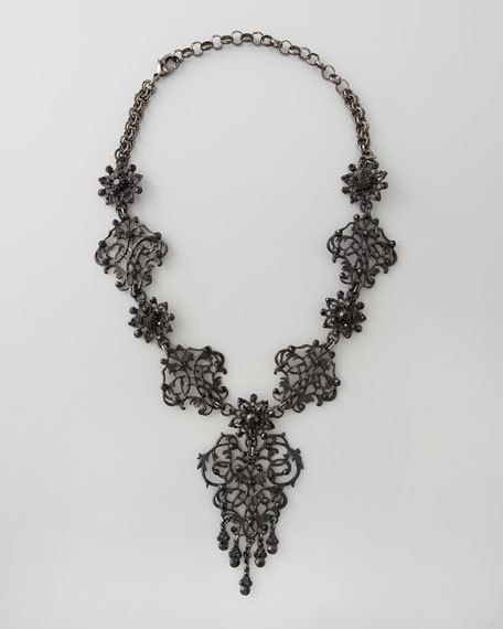 Jet Black Crystal Necklace