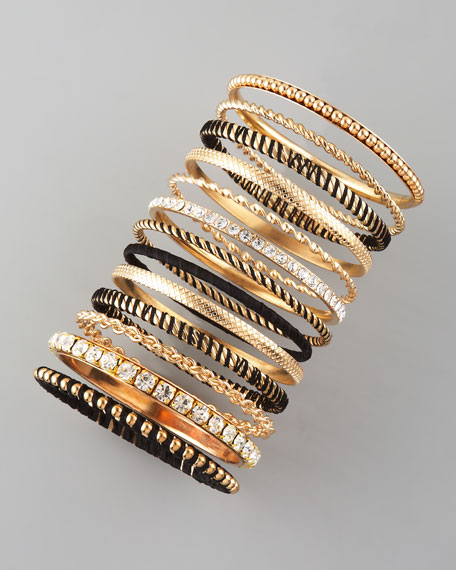 13-Piece Bangle Set, Black