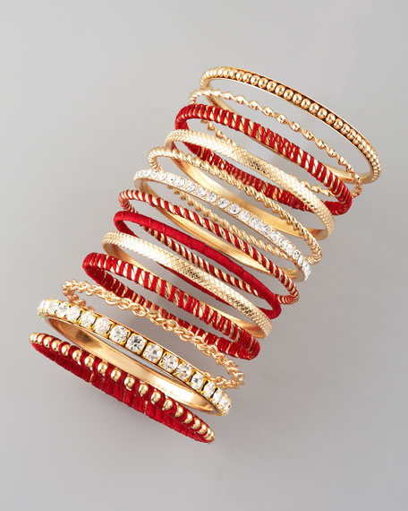 13-Piece Bangle Set, Burgundy