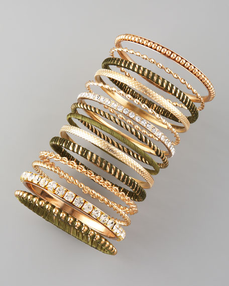 13-Piece Bangle Set, Olive