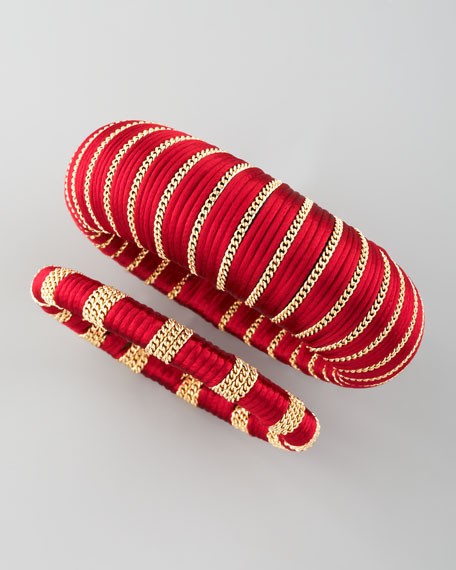 Two-Piece Wrapped Bangles, Burgundy