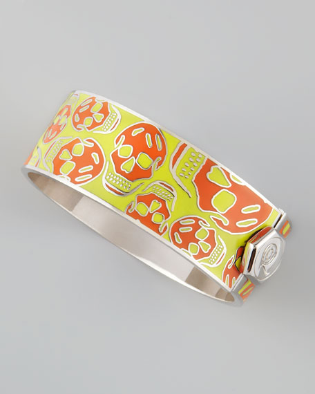 Medium Enamel Skull Bracelet, Orange/Yellow