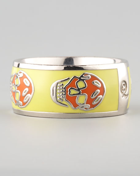 Skull Enamel Ring, Yellow/Orange