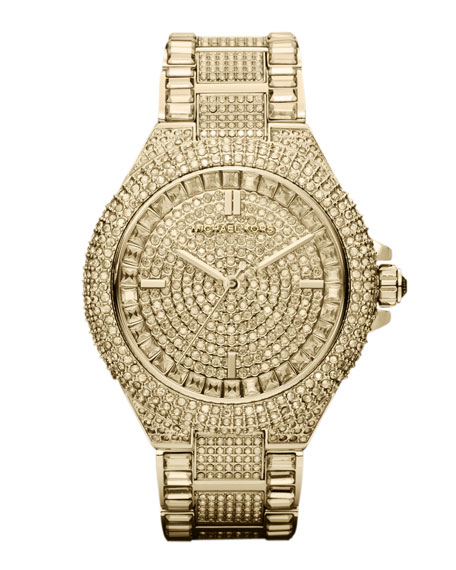 Mid-Size Golden Stainless Steel Camille Three-Hand Glitz Watch