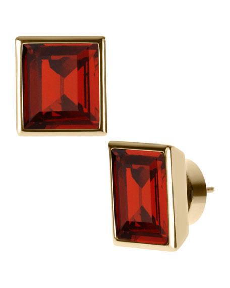 Glass Square Studs, Golden