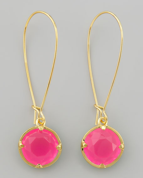 long crystal drop earrings, pink