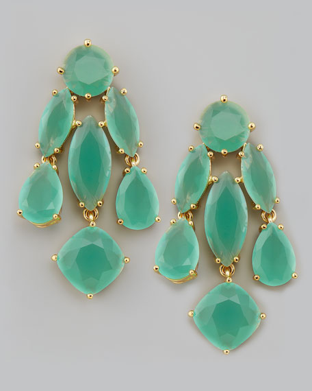 crystal statement earrings, mint