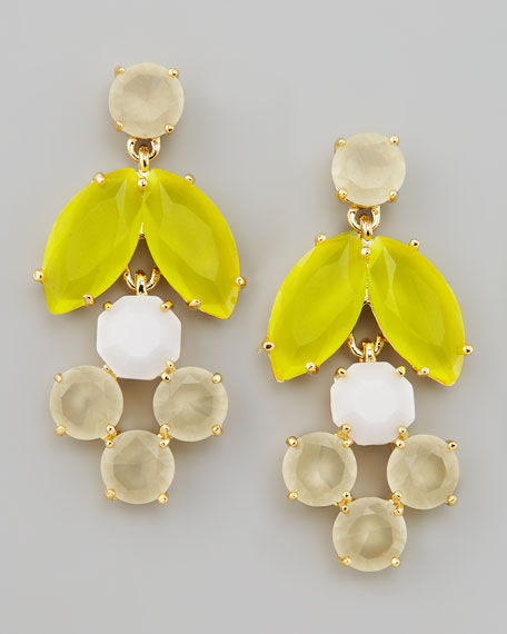 mini chandelier earrings, yellow