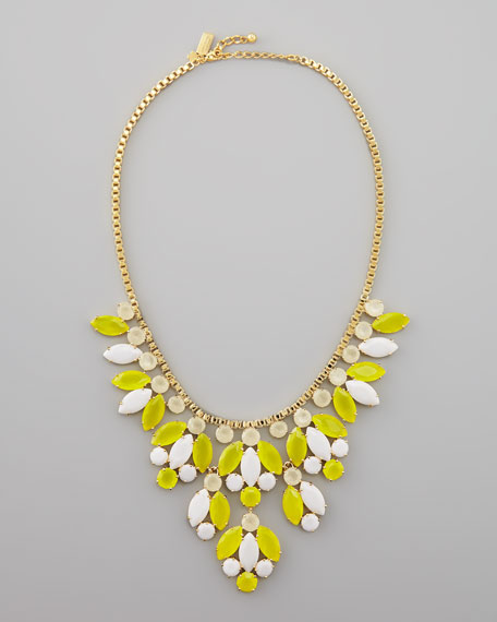 crystal-bib necklace, yellow