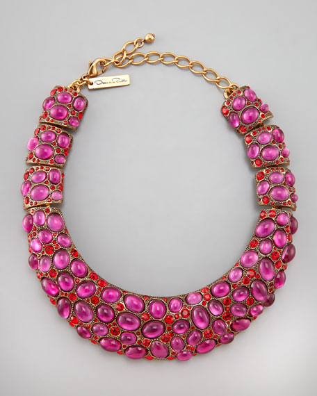 Cabochon Collar Necklace, Pink
