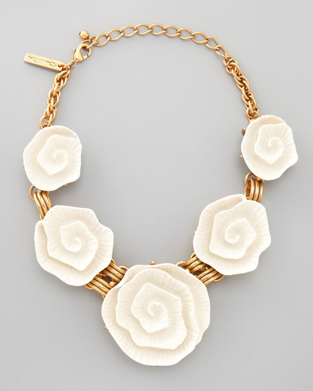 Resin Flower Necklace, Ivory