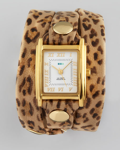 Wrap Rectangle Watch, Leopard