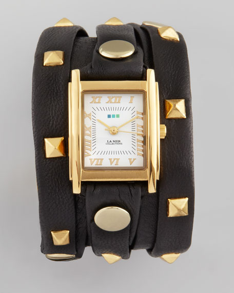Studded Wrap Rectangle Watch, Black