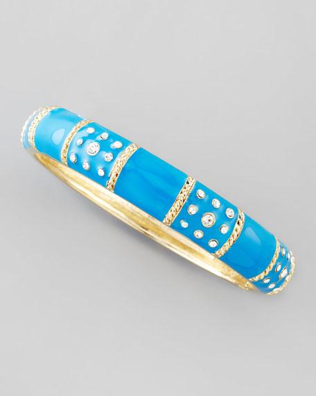 Braid-Striped Pave Crystal Enamel Bangle, Turquoise