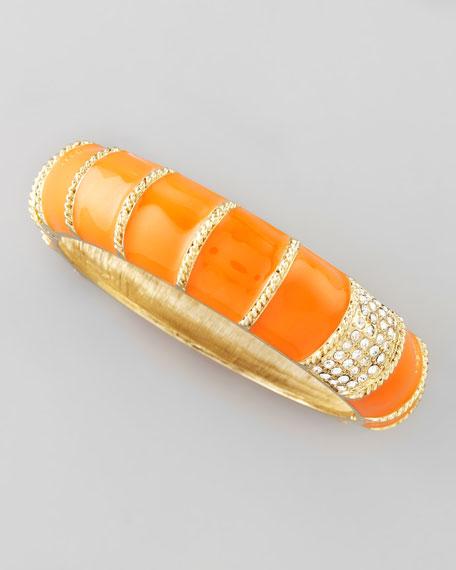 Shrimp Faceted Crystal Bangle, Orange