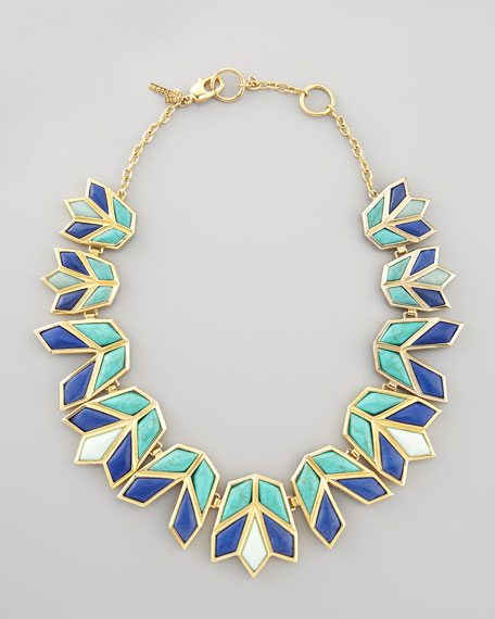 Lotus Bib Necklace, Aegean Blue