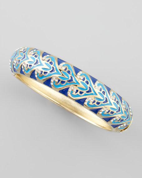 Enamel Scroll Bangle, Blue
