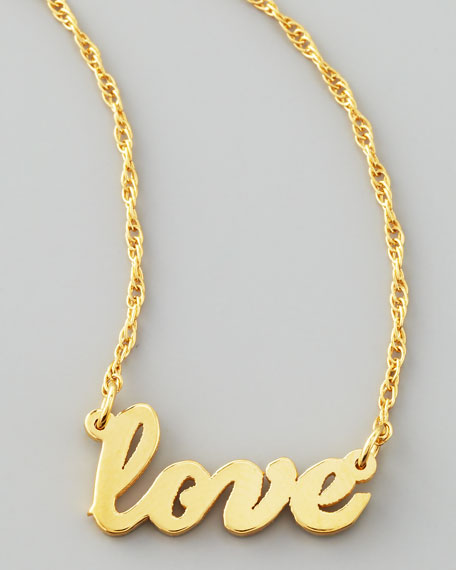 Gold Love Word Pendant Necklace